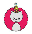 cute bear kawaii party hat vector image vector image