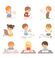 cute children sitting on floor and drawing vector image vector image