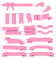 Cute pink ribbons set isolated on white background vector image vector image