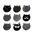 cute set of cats faces in scandinavian stile vector image