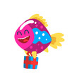 cute smiling fish with gift box little sea vector image vector image