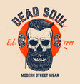 dead soul bearded skull on grunge background vector image vector image