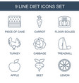 diet icons vector image vector image