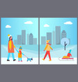 families activities in city vector image vector image