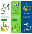 farmers at work 3d banner vecrtical set isometric vector image