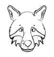 figure cute wolf head wild animal vector image