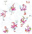 flamingoes ice skating seamless christmas pattern vector image