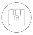 floppy disk icon black color in circle vector image vector image
