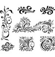 freehand drawings various decorative floral vector image vector image