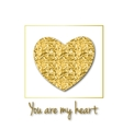 Glitter golden heart vector image