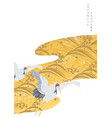 gold texture decoration with crane birds elements vector image