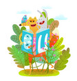 happy fox rabbit and bird reading book in forest vector image vector image