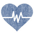 heart pulse fabric textured icon vector image