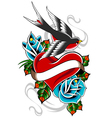 heart tattoo emblem vector image