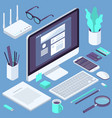 isometric busies office workspace elements vector image vector image