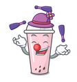 juggling raspberry bubble tea character cartoon vector image vector image