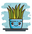 kawaii pot natural plant cartoon vector image