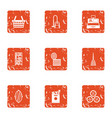 kitchen shop icons set grunge style vector image
