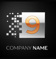 number nine logo symbol in golden-silver square vector image vector image