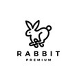 rabbit hare outline monoline logo icon vector image vector image