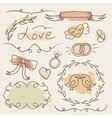 Rustic wedding set hand drawn elements vector image