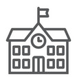 school building line icon school and education vector image
