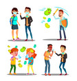 season allergy microbe attack character set vector image
