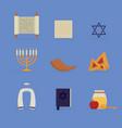 set flat icon jewish culture vector image