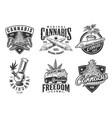 set of monochrome cannabis emblems vector image vector image