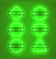set of realistic glowing green neon frames vector image