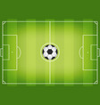 soccer field with football ball in center soccer vector image vector image