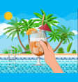 swimming pool and cocktail palm tree vector image vector image