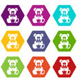teddy bear holding a heart icon set color vector image vector image