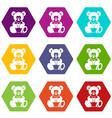 teddy bear holding a heart icon set color vector image vector image