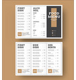 template white trifold menu with a black cover vector image vector image