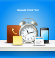 time management realistic composition vector image vector image