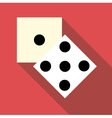 Two dice cubes icon flat style vector image vector image