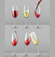 two wine glasses with red and white wine in vector image vector image