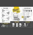 vintage beer menu design restaurant menu vector image vector image