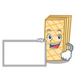 with board waffle character cartoon style vector image