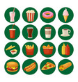 set fast food icon cup cola hamburger pizza vector image