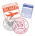airplane and train travel stamps of rome in vector image vector image