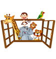 Animals and window vector image