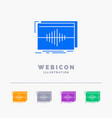 audio frequency hertz sequence wave 5 color glyph vector image