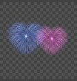 beautiful heart-fireworks set bright romantic vector image vector image