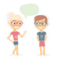 boy and girl talking dialogue of young people vector image vector image