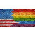 Brick Wall USA and Gay flags vector image vector image