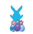 bunny silhouette easter vector image vector image