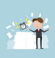 businessman with alarm clock and a lot of document vector image vector image