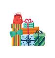 cartoon present gift box ribbon bow pile vector image vector image